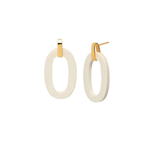 White wood flat oval earring - Gold