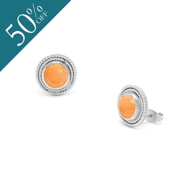 Orange Jade Valencia stud earring - Silver