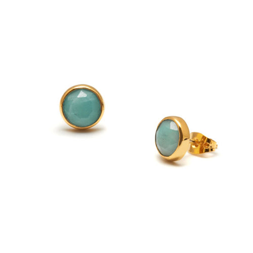Amazonite and Gold Earrings