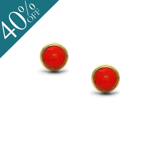 Coral Stud Earring - Gold Plate