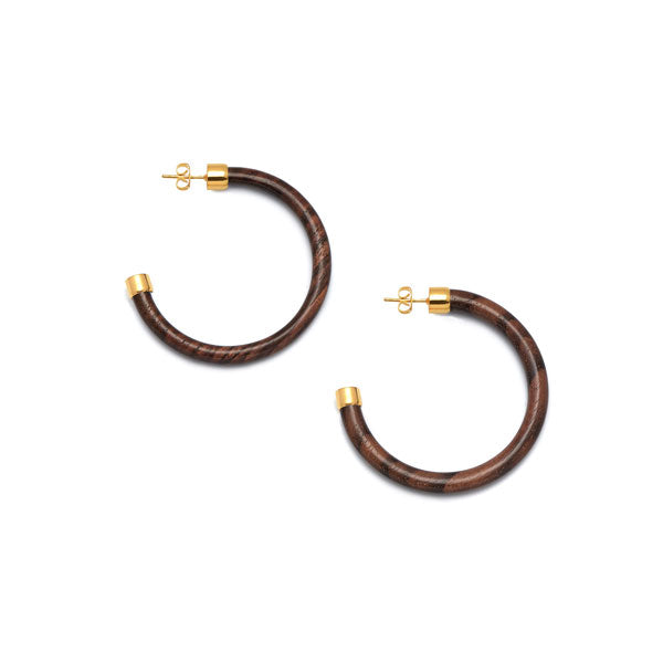 Branch Jewellery - Rosewood and gold hoop earrings