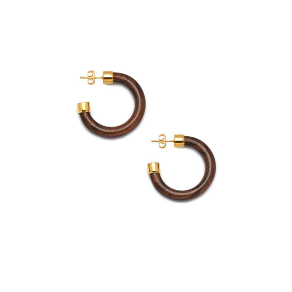 Small Rosewood rounded hoop earring - Gold plate