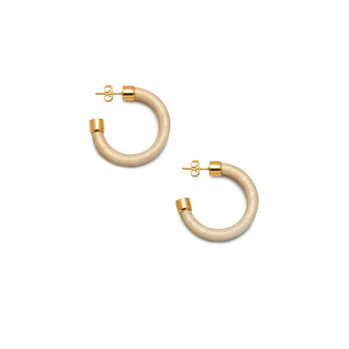 Small White Wood rounded hoop earring - Gold plate