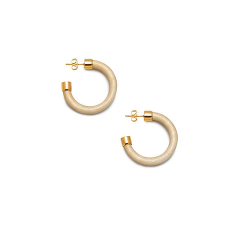 Slim White wood hoop earring - Gold