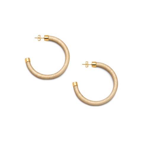 White wood flat hoop earring