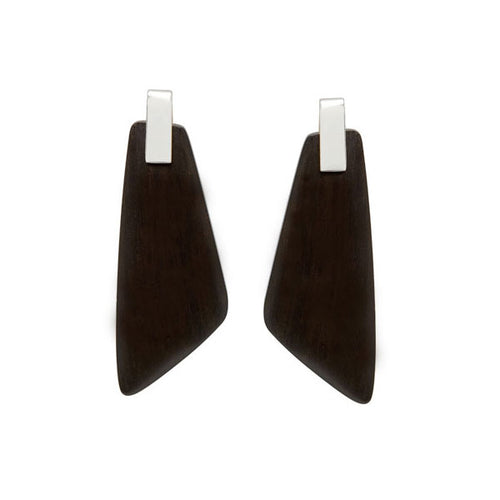 Black wood Trapezium Earrings - Silver