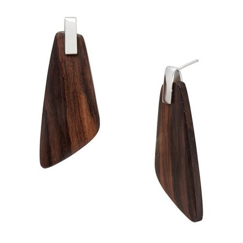 Rosewood Trapezium Earrings - Silver