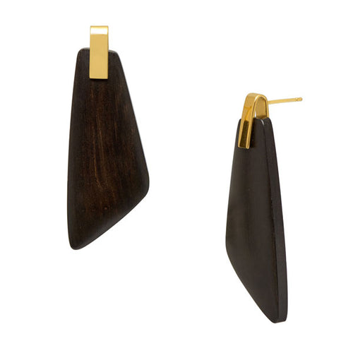 Black Wood Trapezium Earrings - Gold plate