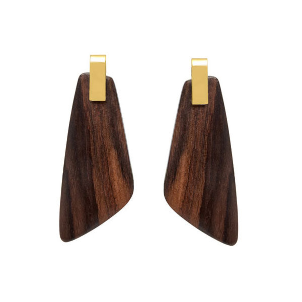 Branch Jewellery - Brown wood and gold earrings