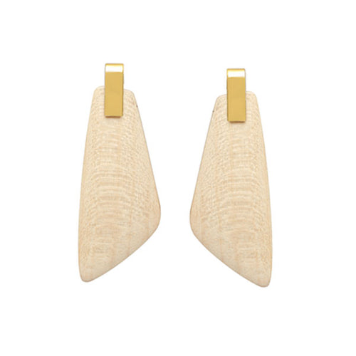 White Wood Trapezium Earrings - Gold plate