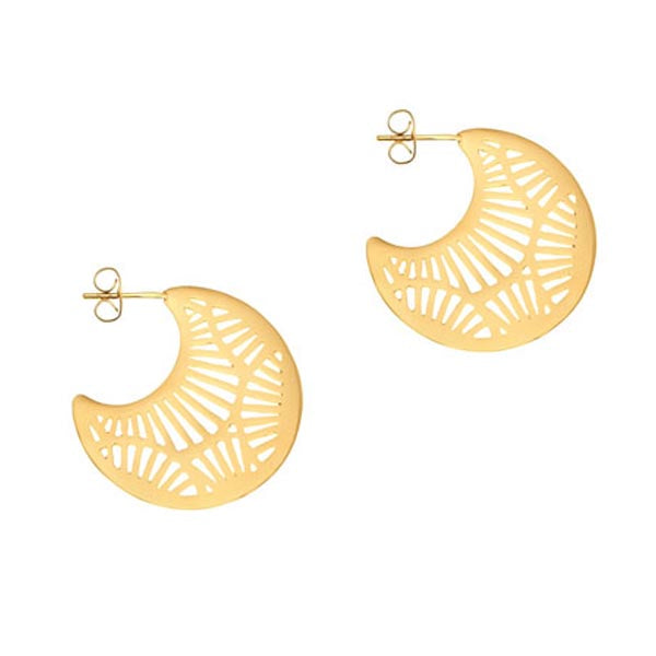 18 Ct Gold Plated Silver Cresent Earrings