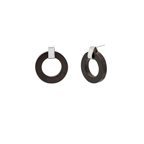 Small Black Wood rounded hoop earring - Silver
