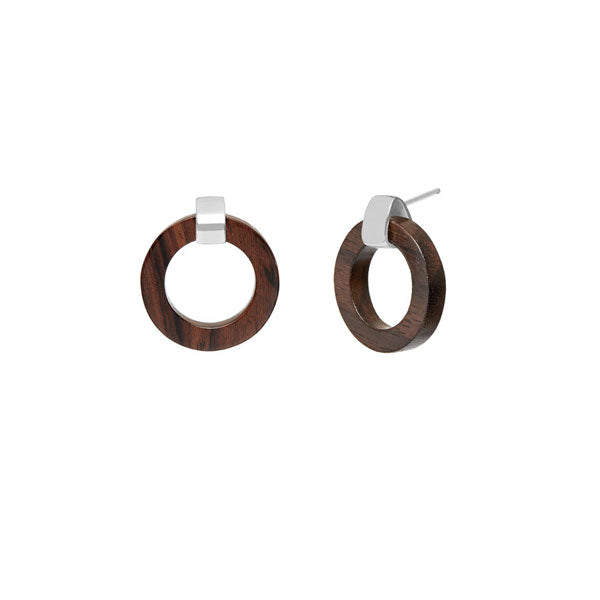 Branch Jewellery - Brown wood and silver circle earrings
