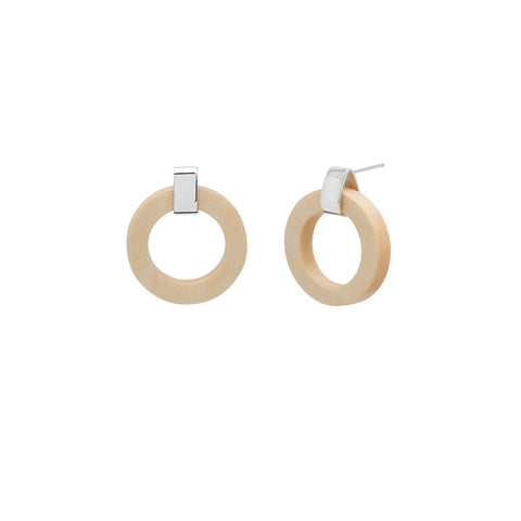 Long White wood round spike earring - Gold