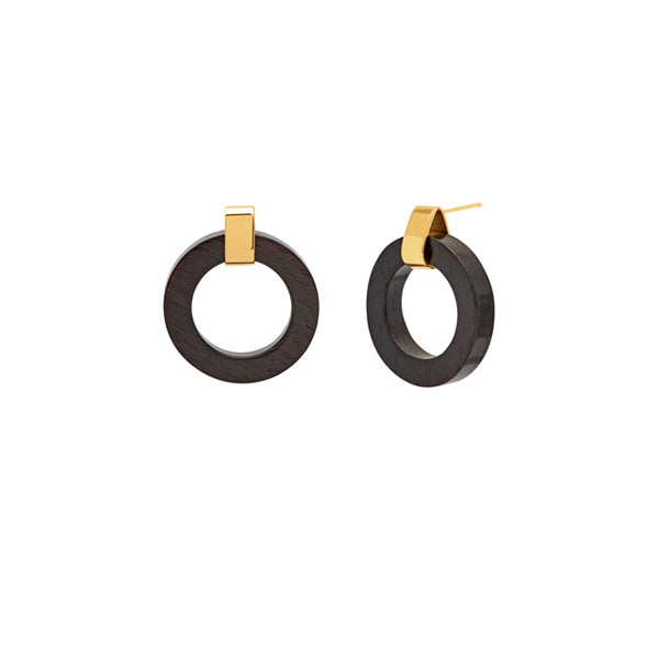 Branch Jewellery - Black wood and gold  circle earrings