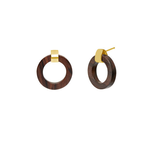 Branch Jewellery - Brown wood and gold  circle earrings