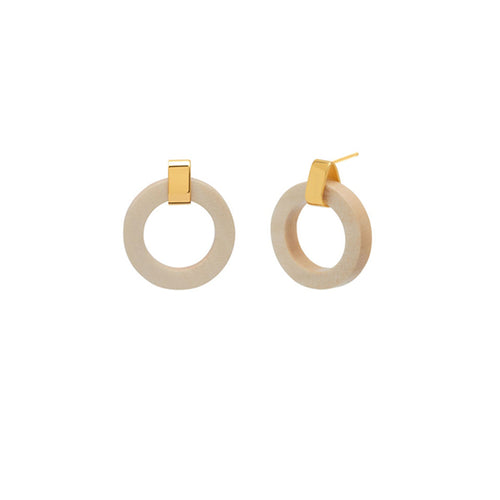 White wood ring earrings - Gold plate