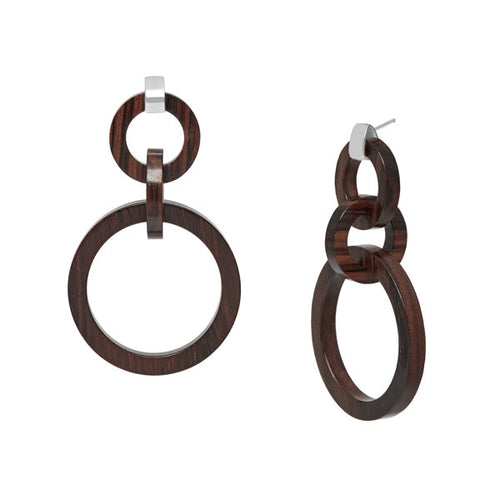 Branch Jewellery - Brown wood and silver round link earrings