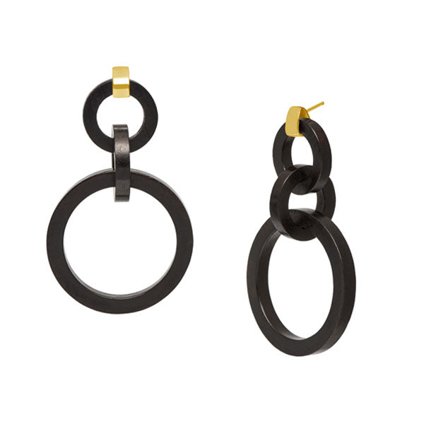 Branch Jewellery - Black wood and gold round link earrings