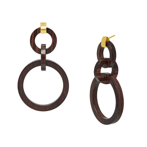 Branch Jewellery - Brown wood and gold round link earrings