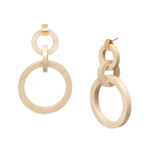 White wood triple ring earring - Gold plate