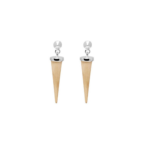 White wood and silver round spike earring