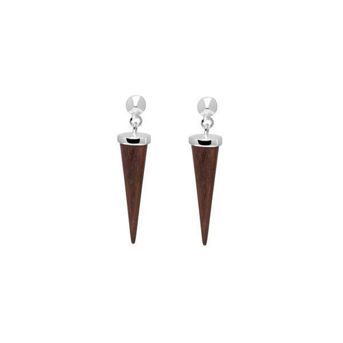 Rosewood and silver round spike earring