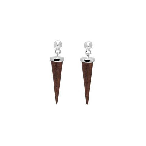 Black wood Open Rectangle Drop Earring - Silver