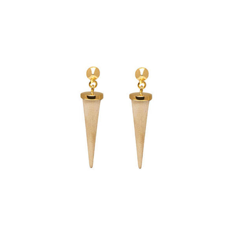 Black wood ring earrings - Gold plate