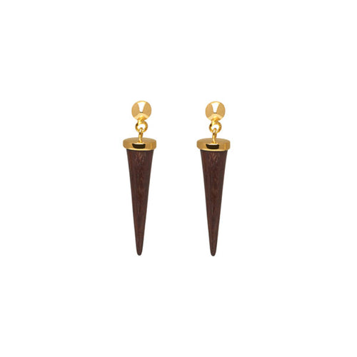 Rosewood and gold round spike earring