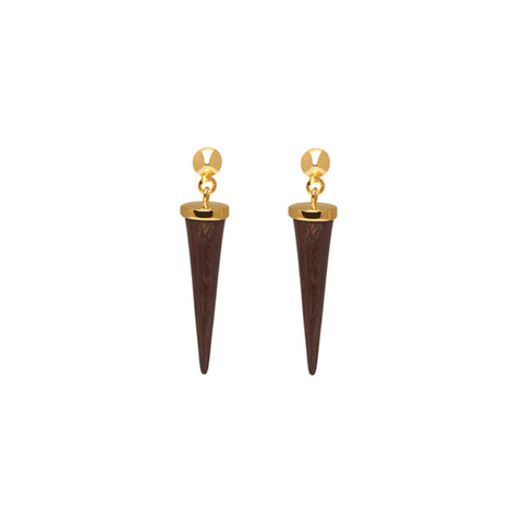 Small White wood Spike Earring  - Gold