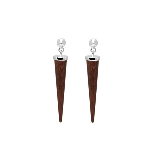 Long Rosewood and silver round spike earring