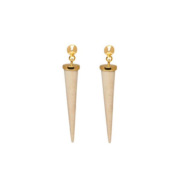 Long White wood and gold round spike earring