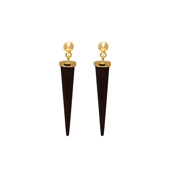 Long Black wood and gold round spike earring