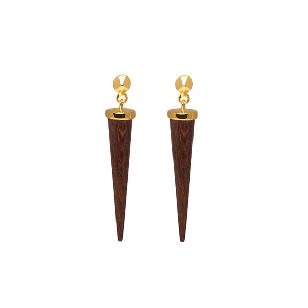 Long Rosewood and gold round spike earring