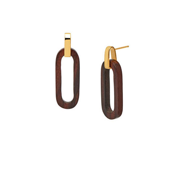 Branch Jewellery - Gold and brown wood rectangle link earring