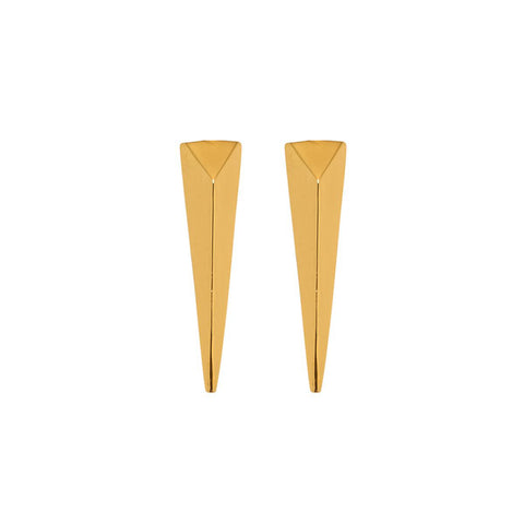 Black wood round spike earring - Gold