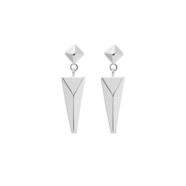 Stud and spear drop earring - Silver