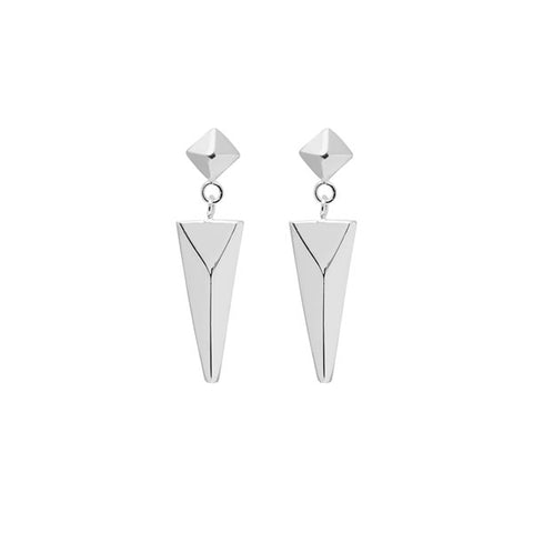 White wood round spike earring - Gold