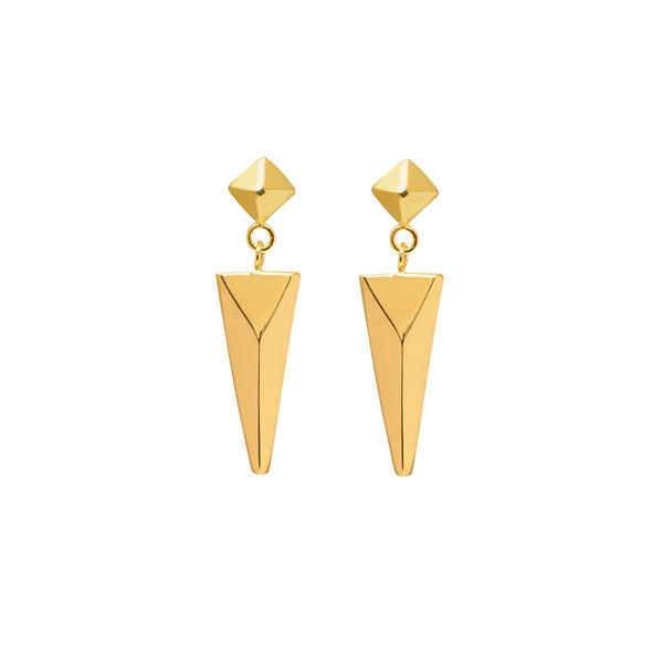 Stud and spear drop earring - Gold