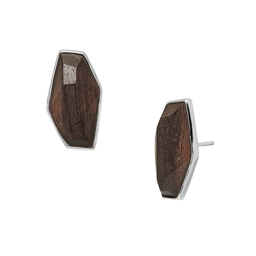 Faceted Rosewood earring
