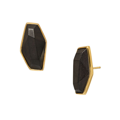 Wood and gold plate earring