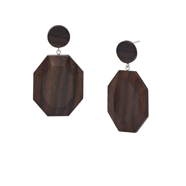 Branch Jewellery - Brown wood hexagonal drop earring