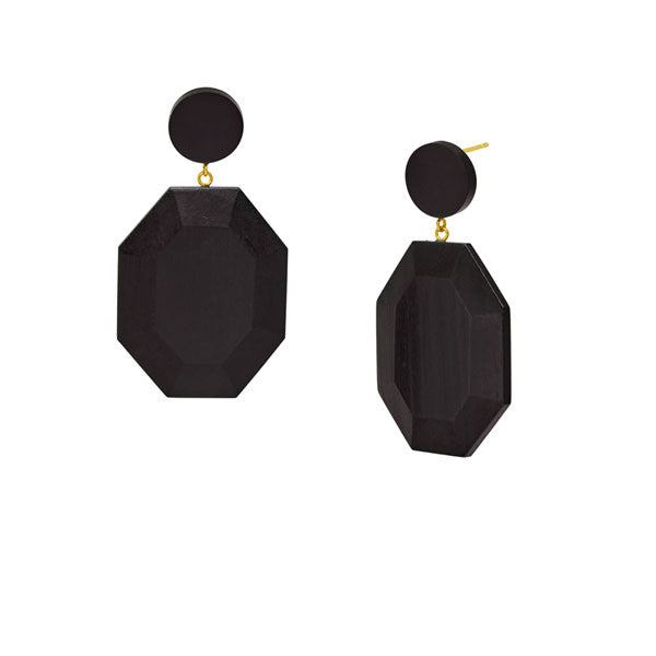 Branch Jewellery - Black wood hexagonal drop earring