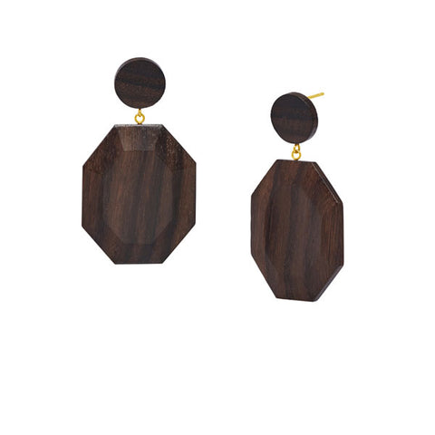 Rosewood hexagonal drop earring - Silver