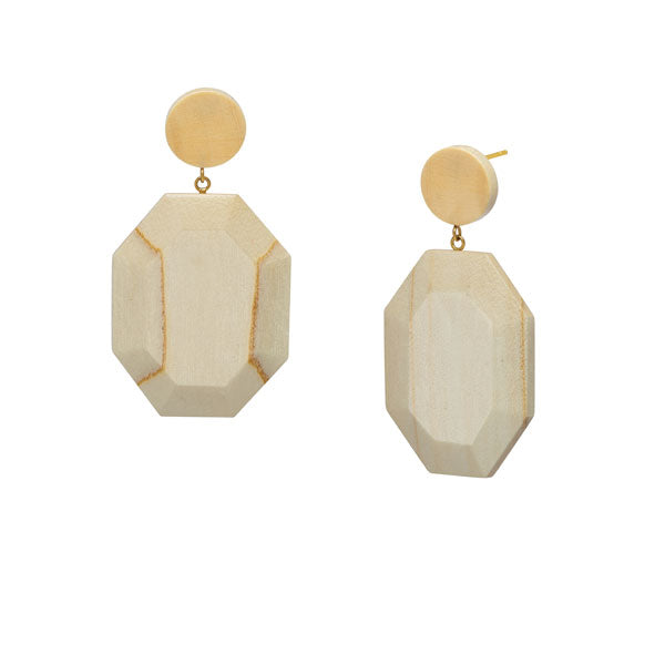 Branch Jewellery - White wood hexagonal drop earring