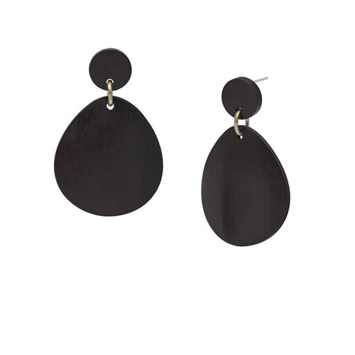 Silver and black wood curved oval earring by Branch Jewellery