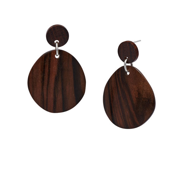 Silver and Brown wood curved oval earring by Branch Jewellery