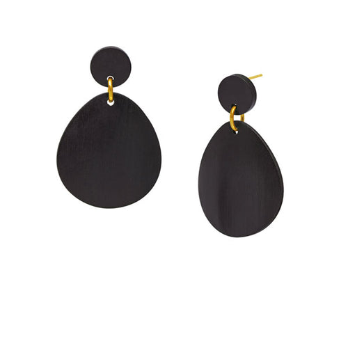 Gold and black wood curved oval earring by Branch Jewellery