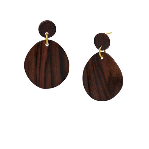 Gold and brown wood curved oval earring by Branch Jewellery